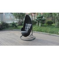 Wholesale Stock Discount Rattan Furniture Black Rattan Hanging Swing Chair With Grey Cushion from china suppliers