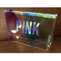 Clear Laser Luxury PVC Cosmetic Bag Top Logo Printing With Shining Zipper