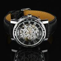 Wholesale Elegant Gold Hand Wind Mechanical Watch For Mens , Silver Case from china suppliers