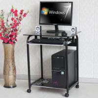 Buy cheap Tempered Glass And Wood Home Computer Table Black Color Movable Study Table DX-089 from wholesalers