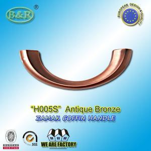 Quality Ref No H005S dimension 19*7cm Zamak Metal Coffin Handles color antique bronze moon shape for sale