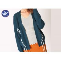 China Loose Effect Winter Knit Cardigan Sweaters For Women , Hit Color Cross Embroidery for sale