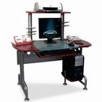 Wholesale Solid Structure Computer Desk, Made of Tempered Glass and MDF with PVC Wrapping from china suppliers