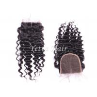 Wholesale Grade 7A Deep Wave Human Hair Lace Closure / Middle Parting Closure Real Hair from china suppliers