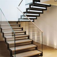 Wholesale Staircase steel grill design with side mount glass balustrade from china suppliers