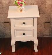 Buy cheap french style corner bedroom wardrobe furniture white wood beside table from wholesalers