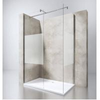 Wholesale European Portable Acrylic Plastic Base Tray Frameless Walk in Glass Shower Screen with Stainless Steel Support Bar from china suppliers
