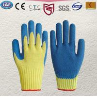 Wholesale 100 % Kevlar knitted glove Palm and finger tips coated in blue latex Knitted wrist,Gauge10 from china suppliers