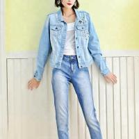 Wholesale Blue Washed Ripped Ladies Fitted Denim Jacket With Pearls Slim Fit Style from china suppliers