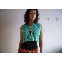 Wholesale Green Hand Crochet Sleeveless Cardigan Sweater Front Open Cotton Knit Cardigan from china suppliers