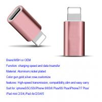 Wholesale Aluminum 8 Pin Apple Lightning To Micro USB Adapter IPhone7 IPad Air Rose from china suppliers