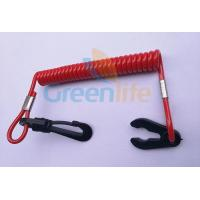 Wholesale Plastic Spiral Safety Floating Watercraft Lanyard Tether Solid Red color with Black Snap Hook&Key from china suppliers