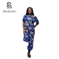 Quality Summer Women African Style Jumpsuit Strapless Straps Sleeves Loose Piece Pants for sale