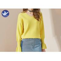 Wholesale Candy Color V Neck Trumpet Cuff Womens Knit Pullover Sweater Jumper from china suppliers