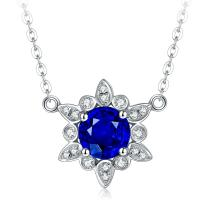 Quality 18k Solid Gold Real Gemstone Jewelry With Diamond Sapphire Mothers Necklace  for sale