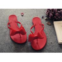 Wholesale Plastic Upper Fashion Flip Flops With Bowknot Flat Heel Ladies Thong Slippers from china suppliers