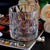 Wholesale Clear contemporary glass candle holders diamond pattern design Bottom dia 98mm from china suppliers