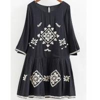 Wholesale A Line Neckline Black Floral Embroidered Midi Dress , Flower Embroidered Dress from china suppliers