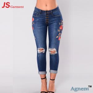 Fashion Street Design Skinny Jeans Pants Tight Elastic Nine Points Length
