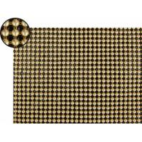 A piece of metallic fabric cloth with 4mm round shapes and dull polished brass color.