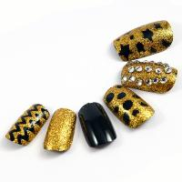 Wholesale Gold speckle Fingers Glitter Fake Nails healthy for women / Full Cover Fake Nails from china suppliers
