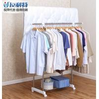 Buy cheap Scalable Height Dual Rods Clothes Display Rack / Commercial Standing Cloth Drying Hanger from wholesalers