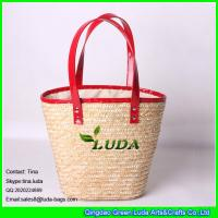 Wholesale LUDA wholesale handbags red leather handles tote straw beach hand bags from china suppliers