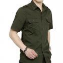 British Leisure Style Men's Work Uniform Shirts 2 Arm Buckle Solid Color for sale