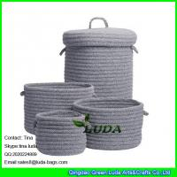 Wholesale LUDA home decoration basket grey fashion cotton sundries sotrage basket with lid from china suppliers