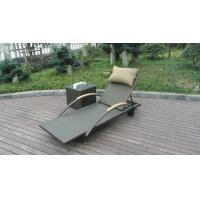 Wholesale Modern Rattan Sun Lounger , Folding Lounger With Side Tea Table from china suppliers