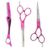 Wholesale Convex-edge Blade Pink Teflon Coating  Stainless Steel Left Handed Hair Cutting Scissors from china suppliers