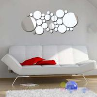 Quality 3D Silver Mirror Surface Geometric 28pcs Round Acrylic Wall Sticker Decor for sale