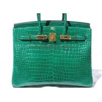 Buy cheap Quintessential EMERALD GREEN CROCODILE 35cm Hermes BIRKIN Bag/Gold from wholesalers