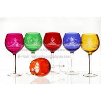 Quality set of 6 sprayed round bowl glass engraved wholesale OEM for sale