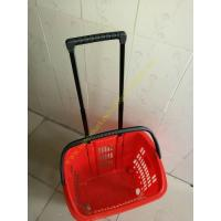 Wholesale Supermarket Plastic Shopping Basket With Wheels , 455 * 355 * 415 mm from china suppliers