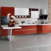 Wholesale Hotel Built In Melamine Kitchen Cabinets With Invisible Handless And Working Table from china suppliers