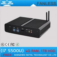 Buy cheap Small Fanless PC linux BroadWell fifth generation i7 5500u with 2 HDMI 2 LAN Mini Computer from wholesalers