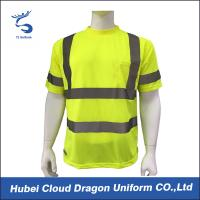 Wholesale Lemon Birdseye Short Sleeve Safety Law Enforcement T Shirts With Reflective Tape from china suppliers