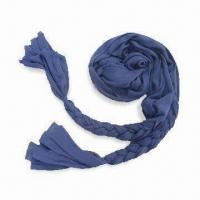 Wholesale Ladies Fashionable Jersey Scarf with Plaits at Ends, Measures 190 x 53cm from china suppliers