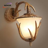 Wholesale Maso Hot Sale Glass Cover Antler Wall Sconce Lamp Cloth Store Retro Style Decoration MS-W2009 LED E27/E14 Lighting Base from china suppliers