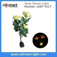Wholesale 3LED Yellow Solar Rose Flower Lights Stem Solar Powered Garden Lamp Outdoor Decorative Landscape LED Rose Lights from china suppliers