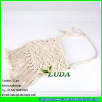Wholesale LDMX-004 2016 fashion lady beach bag white cotton rope fasten straw shoulder bag from china suppliers