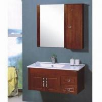 Quality Oak Wooden Bathroom Cabinet with Ceramic Basin and 1.4cm Thick Oak Cabinet Body for sale