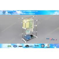 Wholesale Portable Adjustable Clothes Drying Hanger / Modern Double Pole Clothing Rack with Wheels from china suppliers
