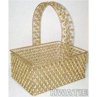 Wholesale GOLD PAINTED WIRE MESH HANDLE BASKET DECORATED WITH GOLD BEADS,RECTANGULAR, LUXURIOUS STYLE from china suppliers