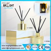Wholesale high quality glass gold reed diffuser bottle with gift box from china suppliers