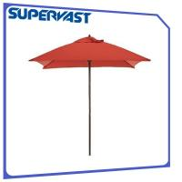 Quality ISO9001 Suqare 2*2M Four Ribs Wooden Beach Sun Shade Umbrella for sale