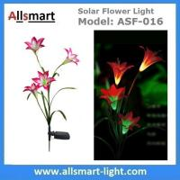 Wholesale 4LED Articifial Solar LED Lily Flower Stake Light Stem Color Changing Energy Saving LED Lamp for Garden Patio Backyard from china suppliers
