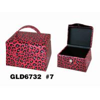 Wholesale Elegant Beautiful Leather Cosmetic Box , Leather Cosmetic Travel Case With Mirror / Handle from china suppliers
