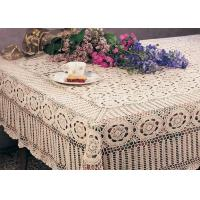 Wholesale Creme Cotton Rectangular Crochet Table Cover Washable Hand Crocheted Table Cloth from china suppliers